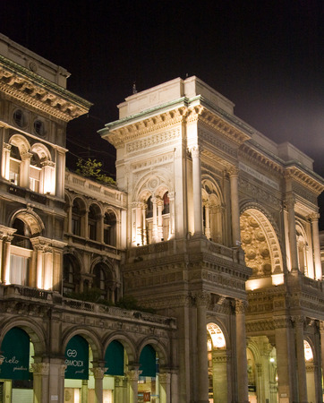 Shopping mall Vittorio Emanuele II in Milan at night