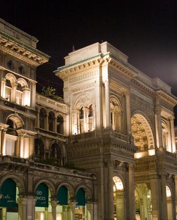 Shopping mall Vittorio Emanuele II in Milan at night