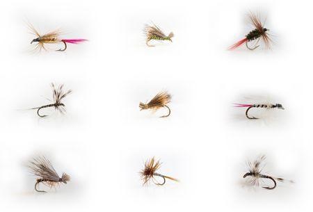 flyfishing: Fly-fishing lures Stock Photo