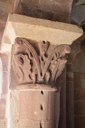 Romanic sculpture of a church pillar in France