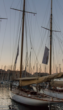 Wooden racing boat in the port of Marseille