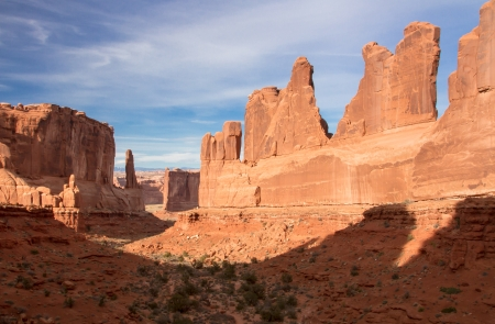 View of Park Avenuel in Arches National Park, Utah  Stock Photo
