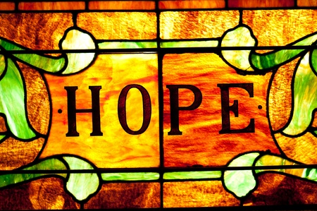 Beautiful stained glass window that says hope.