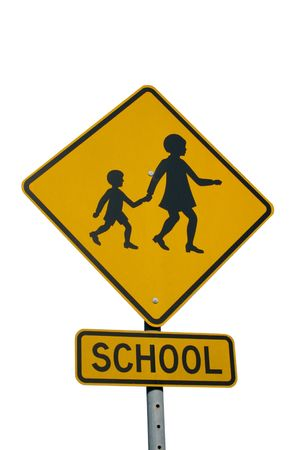 A school zone sign isolated on white. Stock Photo