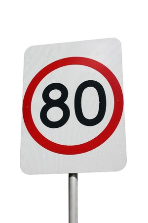 A 80km speed sign isolated on white Stock Photo - 2289697