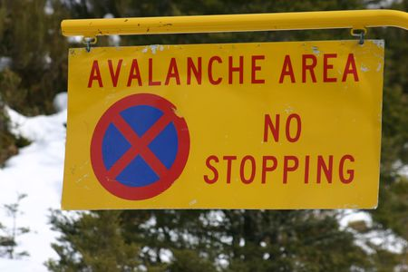 avalanche: Avalanche Area Sign - South Island New Zealand