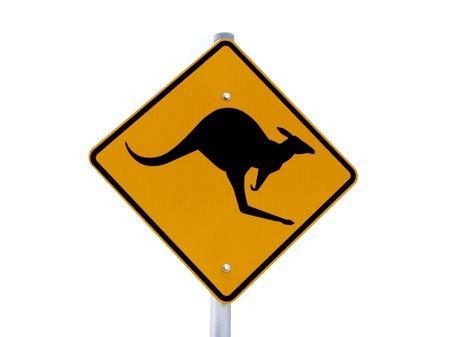 A kangaroo warning sign isolated on white