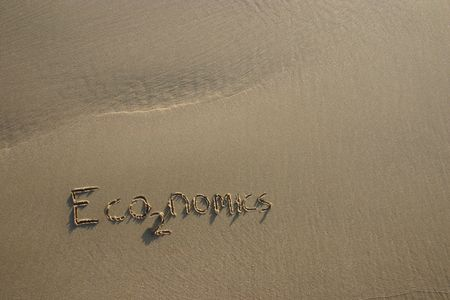 economics / co2 greenhouse gas concept written in the sand Stock Photo - 2623251