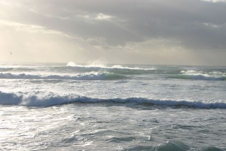 squall: A stormy morning over the waves. Stock Photo
