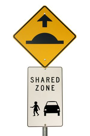 Isolated speed hump sign an pedestrian Area Zone sign Stock Photo - 2664657