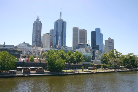 Melbourne cityscape across the Yarra River Stock Photo