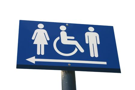 A disabled toilet sign isolated on white photo