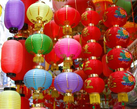 Colourful chinese lanterns photo