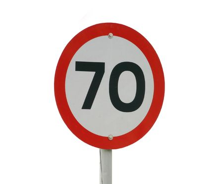 A 70km speed sign isolated on white Stock Photo - 2946149
