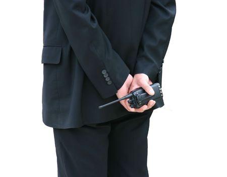 guardaespaldas: El personal de seguridad aisladas en blanco  Foto de archivo