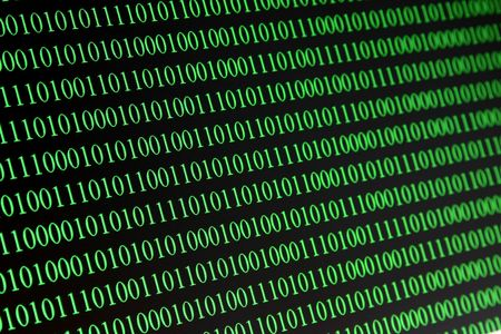 Green Binary numbers on a computer screen