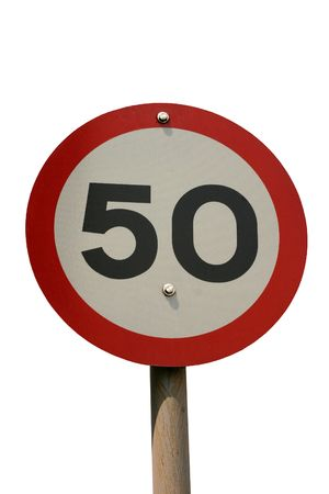 A round 50km speed sign isolated on white Stock Photo - 3087748