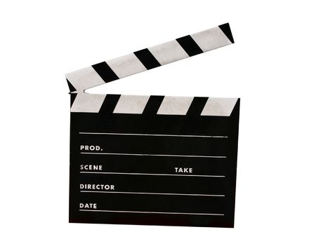 A film clap board isolated on white photo