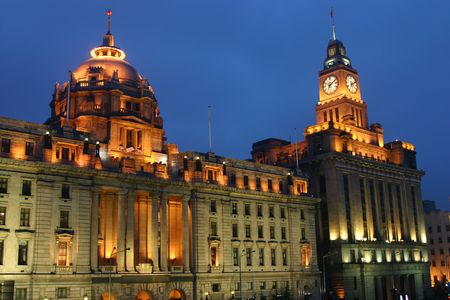 Classic Buildings at night at the Bund - Shanghai - China