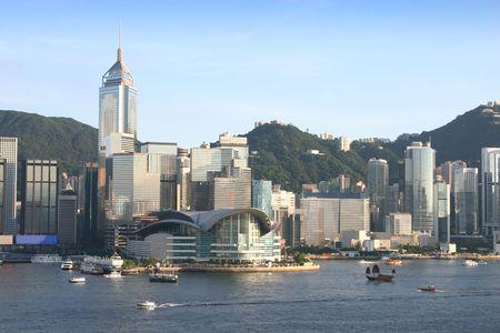 Hong Kong Island across Victoria Harbour. Hong Kong Stock Photo