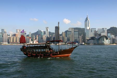 View across Victoria Harbour complete with traditional Chinese junk in the foreground.