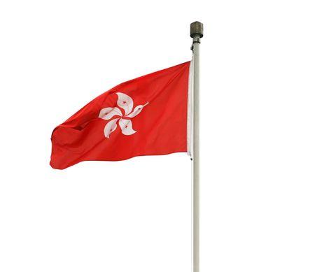 Hong Kong flag isolated on white