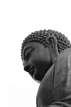 Tian Tan Buddha - Lantau Island - Hong Kong in black and white Stock Photo - 3500850