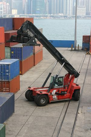 Loading activity at a container port in Hong Kong
