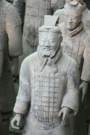 Closeup of one of the famous Terracotta warriors in Xian - China