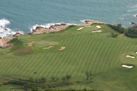 Aerial view of Shek O -l Country Club golf course in Hong Kong photo