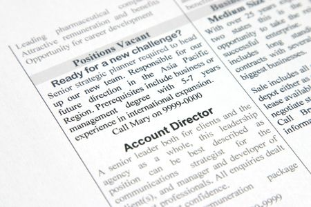 A fake positions vacant advertisement for strategic planner and account director Stock Photo