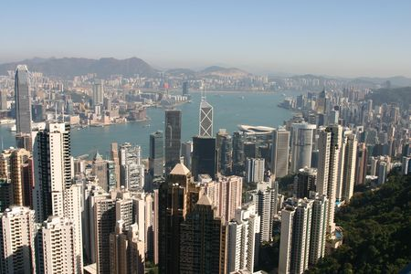 View of Hong Kong from Victoria Peak - Hong Kong Stock Photo - 4025213