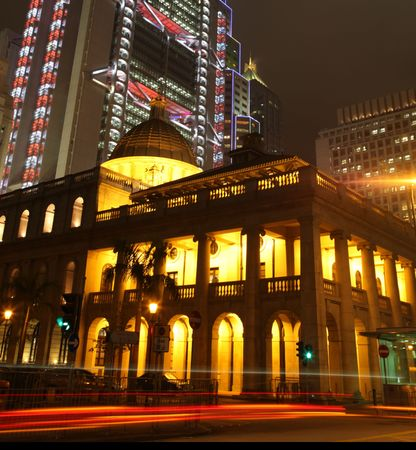 Night view of the Legislative Council Building in Hong Kong - Central with traffic blur