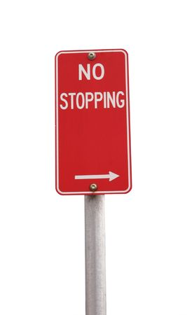 stopping: A red no stopping sign isolated on white