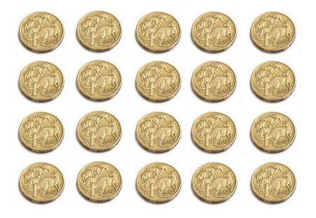 Australian one dollar coins isolated on white photo