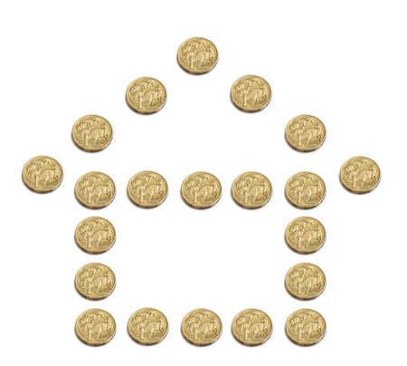 The outline of a house built from Australian one dollar coins