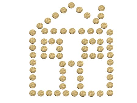 A house made of Australian one dollar coins isolated on white photo