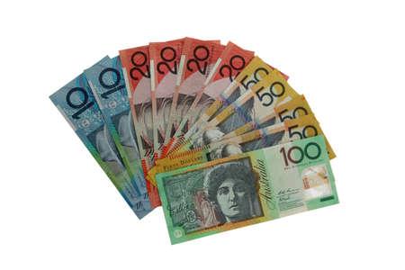 Various Australian notes isolated on white.