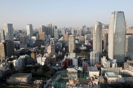 View of downtown Tokyo from Tokyo tower.