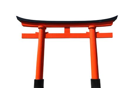 An orange and black Japanese Tori Gate isolated on white.