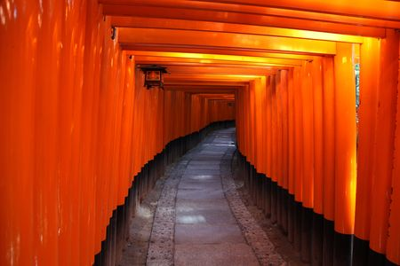 Inside the tunnel of Japanese Torii Gates at Fushimi Inari Taisha , Kyoto Japan. Stock Photo - 6864120
