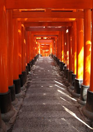 Inside the tunnel of Japanese Torii Gates at Fushimi Inari Taisha , Kyoto Japan.The gates are offerings from individuals, families and companies. This shinto shrine is dedicated to Inari the god of rice,sake and prosperity is one of Kyotos oldest shrines