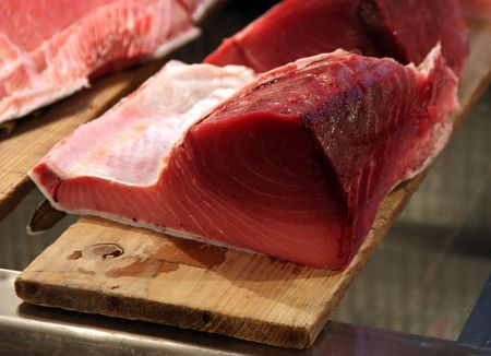 destined: Slabs of freshly sliced tuna in a Tokyo Fishmarket destined to end up as sushi within hours.