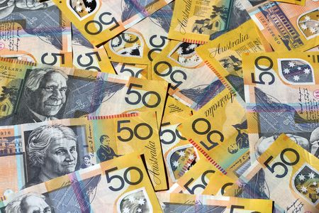 A background of Australian 50 dollar notes photo