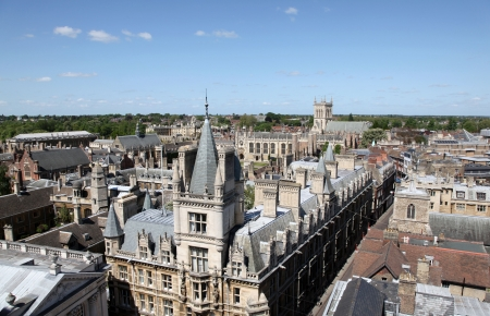 elevated view: An aerial view of Cambridges historical buildings -   Cambridge - England