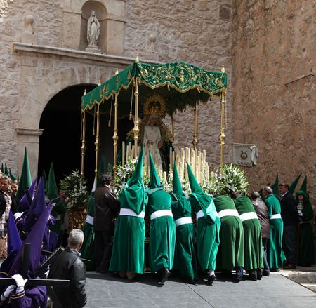 ALMAGRO, SPAIN - APRIL 10 - 2009: Semana Santa - Holy Week, The traditional processions in the streets, April 10, 2009 in Almagro Spain