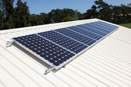 Residential roof top solar panel cells. Solar energy is becoming an important part of the energy mix. Stock Photo - 7881421