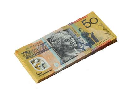 fifty dollar bill: Australian 50 dollar notes isolated on white