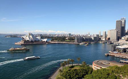 View of Circular Quay Sydney Australia from the Harbour Bridge. Sydney Australia