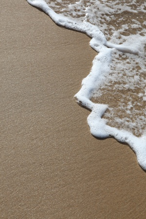 A wave rolls up the sand at the beach. Room to add your own text. Stock Photo - 8459237